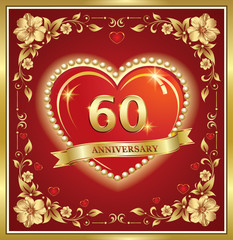 60 years anniversary, happy birthday, big heart, golden frame, floral pattern, red background. Vector illustration
