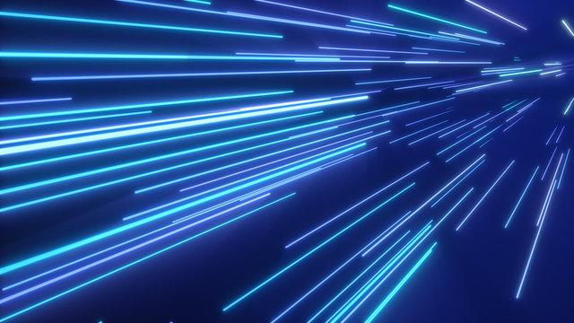 Neon pink blue light streaks. 3d illustration abstract motion background. Fluorescent ultraviolet light, laser neon lines.