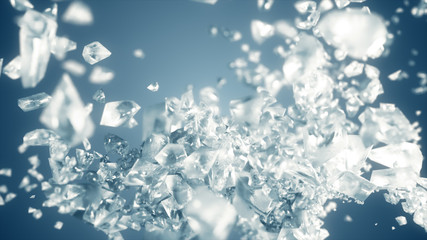 Ice cube explosion in slow motion 3d illustration