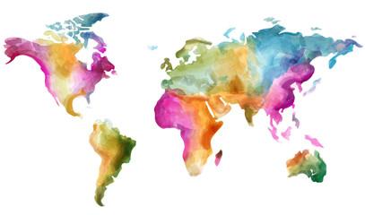 Mapa świata Wektor akwarela. Kolorowych ilustracji grunge efektów - 265484840