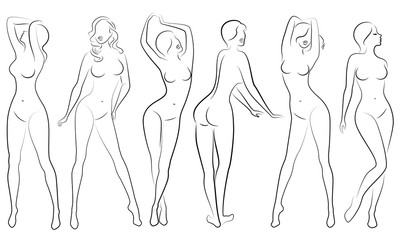 Collection. Silhouettes of lovely ladies. Beautiful girls stand in different poses. The figures of women are feminine, naked and slender. Set of vector illustrations.