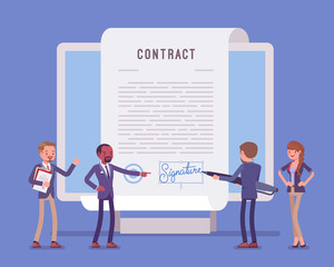 Fototapeta Electronic document signature, contract page on screen. Business people sign official paper, formal agreement, businessman with giant pen putting name as a form of identification. Vector illustration