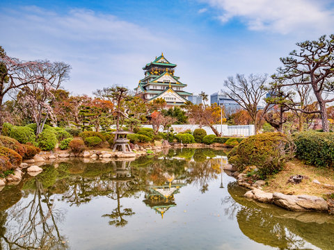 Osaka Castle Keep Reflection