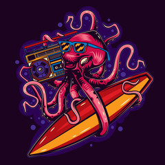Original vector illustration in vintage style octopus with glasses with Boombox and surfing in hands.
