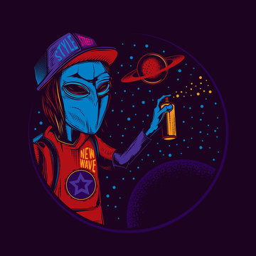 Original vector illustration in vintage neon style. An alien in a cap draws graffiti on the background of space and planets. T-shirt design