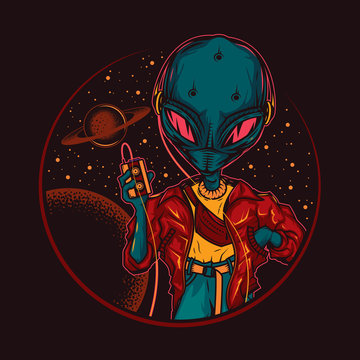 Original vector illustration in vintage style. An alien, an alien in headphones, with a cassette player in his hands, against the background of space and planets. T-shirt design