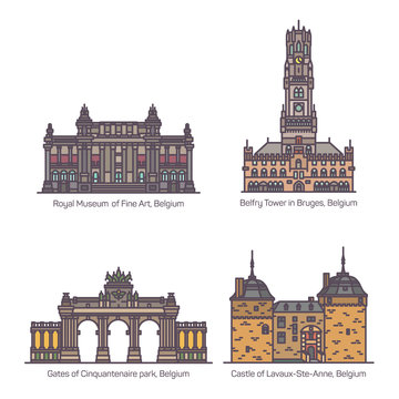 Set of Belgium or belgian architecture landmarks