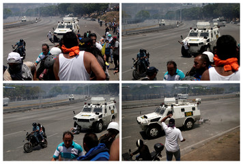 A combination photo of an opposition demonstrator being run over by a Venezuelan National Guard vehicle in Caracas
