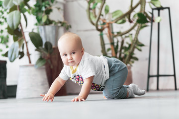 Charming eight-month baby crawls on the floor