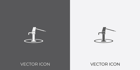 Light & Dark Gray Icon of Water Hand Pump For Mobile, Software & App.. Eps. 10.