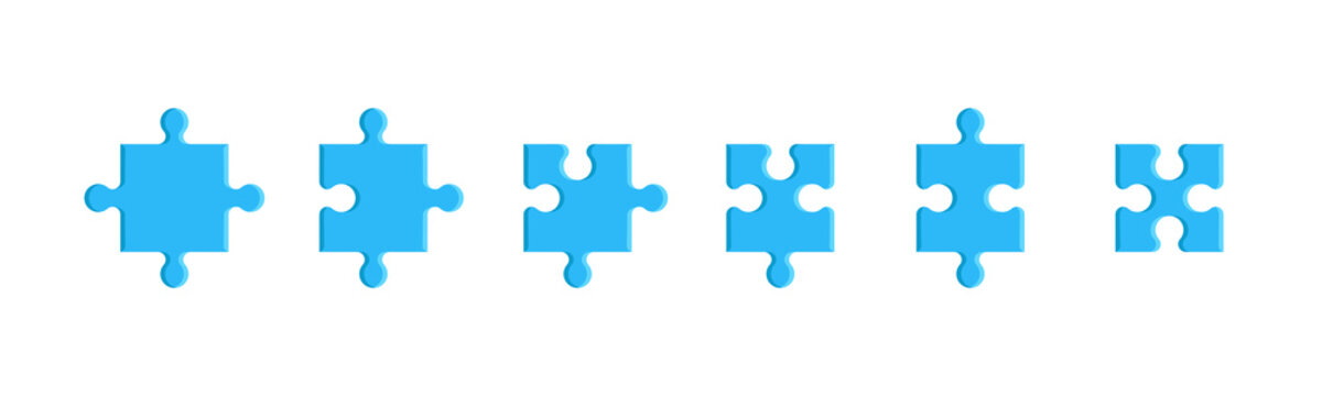 Puzzle pieces set isolated on a white background. Mosaic, details, tails. Jigsaw presentation template. Simple modern design. Blue color. Flat style vector illustration.