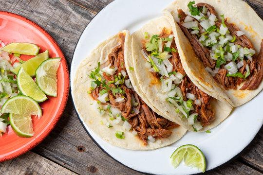 Mexican beef barbacoa tacos