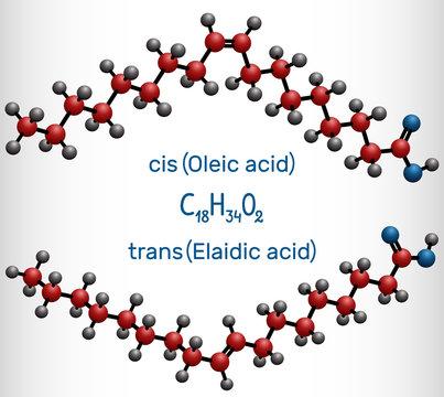 Oleic acid (cis ) and elaidic acid (trans), omega-9 fatty acids are geometric isomers. Molecule model
