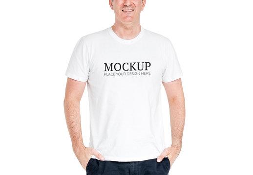 Person Wearing a T-Shirt Mockup