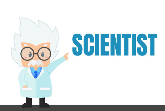 Cartoon scientist in the lab and experiment That looks simple