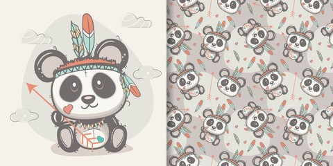 cute panda with feathers with seamless pattern. Can be used for kids/babies shirt design, fashion print design,t-shirt, kids wear,textile design,celebration card/ greeting card, vector