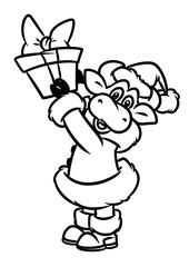 Bull santa claus christmas gifts animal character cartoon illustration isolated image coloring page