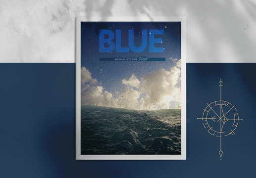 Blue Magazine Layout with Graphic Accents