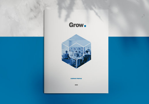 Brochure Layout with Blue and Grey Accents