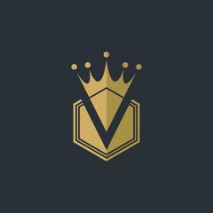 V Royal Crown Logo - Vector logo template