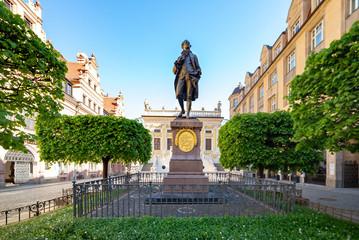 Leipzig, Goethe Denkmal vor der alten Handelsbörse