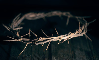 Jesus Crown of Thorn in a Dark Moody Environment