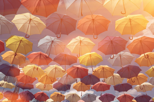 wallpaper with umbrellas in clear blue sky