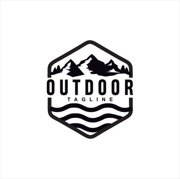 Vintage Hipster Retro Mountain Sea Ocean landscape nature view stamp logo design inspiration. Mountain Outdoor Logo Design ,Hiking, Camping, Expedition And Outdoor Adventure.