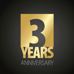 3 Years Anniversary gold black logo icon banner