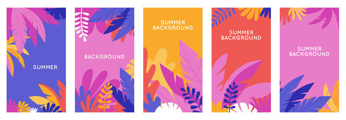 Vector set of social media stories design templates, backgrounds with copy space for text - summer backgrounds for banner, greeting card, poster and advertising Fotomurales