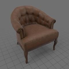 Tufted leather armchair