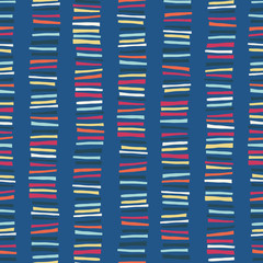 Seamless vector texture with vertical blocks. Childish abstract colorful stripe doodle background.