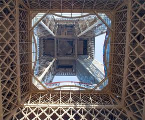 The Eiffel Tower interior in Paris, France