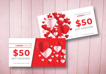 2 Gift Vouchers with Heart Illustrations