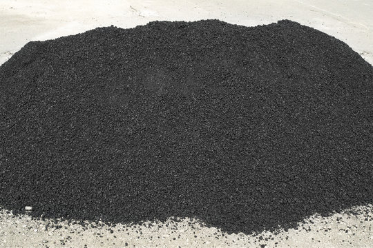 Asphalt pile. Raw asphalt, bitumen
