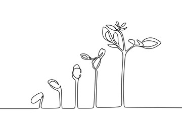 Plant growing continuous line drawing one hand drawn minimalist design