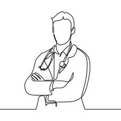 Portrait of Doctor continuous one line drawing single hand drawn minimalist design