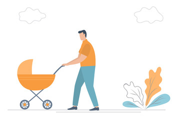 Father with baby in stroller. Young man with an orange carriage on a walk. There is also plants and clouds in the picture. Funky flat style. Vector illustration.