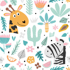 Fototapete - Kids background with zebra and giraffe