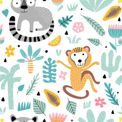 Fototapete - Seamless pattern with tropic animals