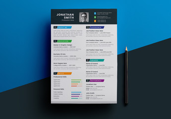 Resume Layout with Multicolored Elements
