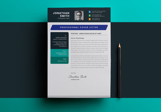 Cover Letter Layout with Blue and Green Accents
