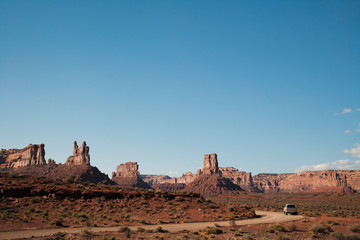 Rock formations along road, Valley of the Gods, Utah, United States