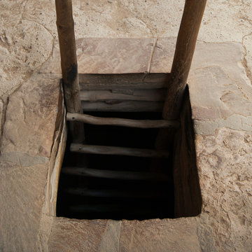 Wooden ladder into chamber, Mesa Verde National Park, Colorado, United States