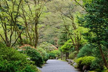 Gravel walkway in Japanese Garden, Portland, Oregon, United States