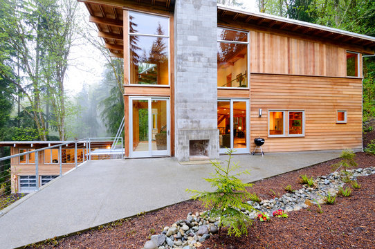 Outdoor fireplace of modern house