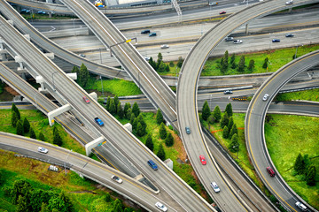 Aerial view of interstate change overpasses