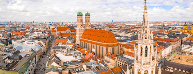 Wall Mural - Aerial view of the cathedral Frauenkirche in Munich, Germany. Beautiful old town view.