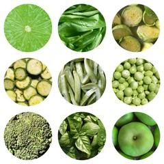 Green vegetables collage