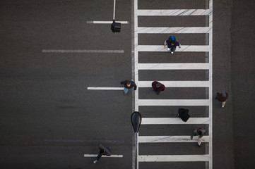 High angle view of pedestrians crossing street